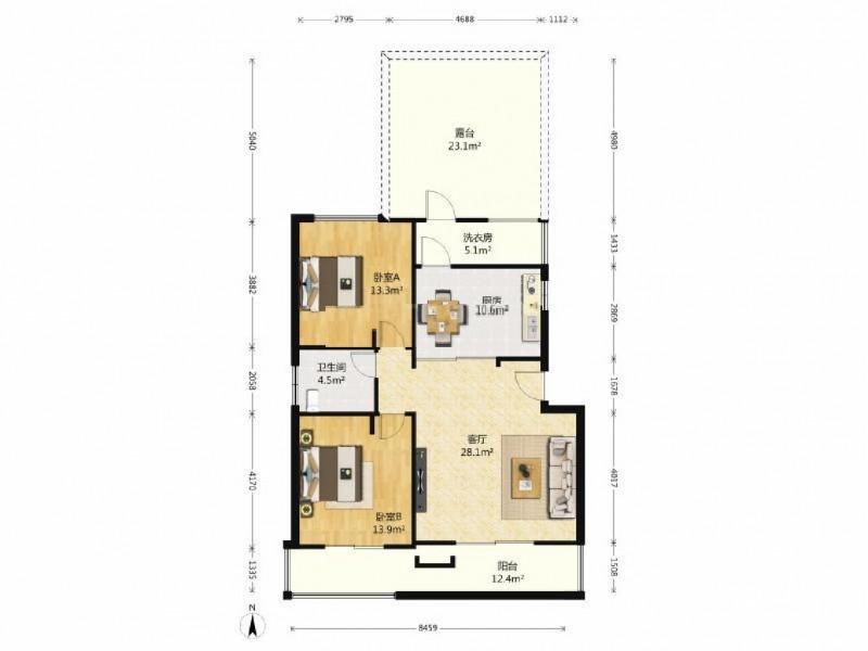 水云居精装洋房3房,可用,送大露台,送家具家电