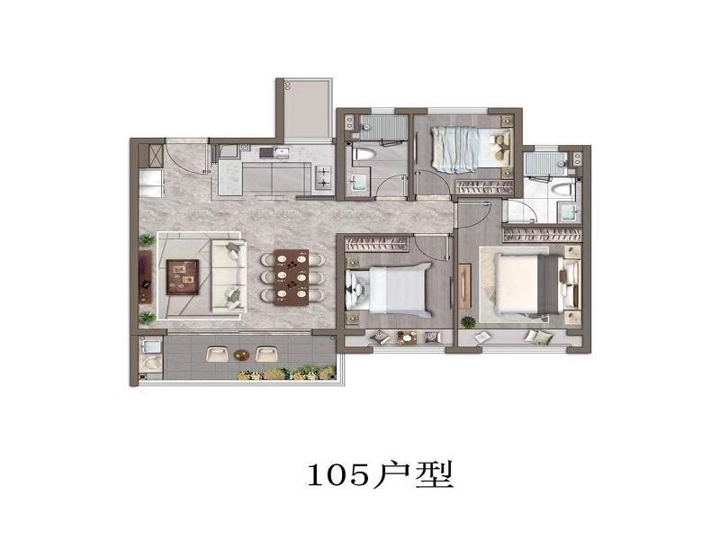 万科锦上和风华苑105平3-2-2