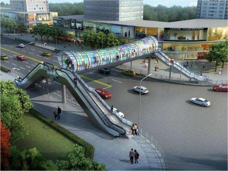 蚌埠市淮河路人行天桥电梯安装完成,期待投入使用