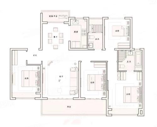 4室2厅2厨2卫143户型